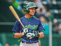 9 July 2015: Vermont Lake Monsters infielder Richie Martin stands on deck during a game against the Mahoning Valley Scrappers at Centennial Field in Burlington, Vermont. The Lake Monsters rallied to tie the game 4-4 in the bottom of the 9th, but fell to the Scrappers 8-4 in 12 innings of NY Penn League play. Mandatory Credit: Ed Wolfstein Photo *** RAW Image File Available ****