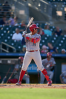 Clearwater Threshers Jhailyn Ortiz (26) bats during a Florida State League game against the Palm Beach Cardinals on August 10, 2019 at Roger Dean Chevrolet Stadium in Jupiter, Florida.  Clearwater defeated Palm Beach 11-4.  (Mike Janes/Four Seam Images)