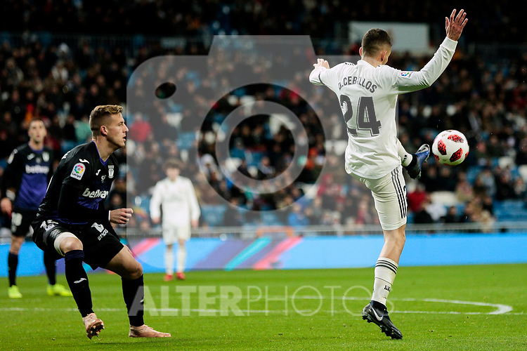 Real Madrid's Dani Ceballos and CD Leganes's Mauro Javier dos Santos during Copa Del Rey match between Real Madrid and CD Leganes at Santiago Bernabeu Stadium in Madrid, Spain. January 09, 2019. (ALTERPHOTOS/A. Perez Meca)