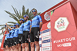 Gazprom-Rusvelo team at sign on before Stage 4 the Emirates NBD Stage of the UAE Tour 2020 running 173km from Dubai Zabeel Park to Dubai City Walk, Dubai. 26th February 2020.<br /> Picture: LaPresse/Fabio Ferrari | Cyclefile<br /> <br /> All photos usage must carry mandatory copyright credit (© Cyclefile | LaPresse/Fabio Ferrari)