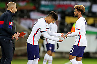 SWANSEA, WALES - NOVEMBER 12: United States head coachGregg Berhalter along with Ulysses Llanez Jr #21 and Konrad De la Fuente #11 of USA during a game between Wales and USMNT at Liberty Stadium on November 12, 2020 in Swansea, Wales.