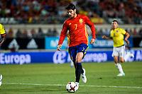 Alvaro Morata os Spain celebrates after scoring a goal during the friendly match between Spain and Colombia at Nueva Condomina Stadium in Murcia, jun 07, 2017. Spain. (ALTERPHOTOS/Rodrigo Jimenez) (NortePhoto.com) (NortePhoto.com)