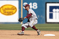 Deven Marrero #17 of the Arizona State Sun Devils fields a throw at second base during a game against the Long Beach State Dirtbags at Blair Field on March 11, 2012 in Long Beach,California. Arizona State defeated Long Beach State 6-1.(Larry Goren/Four Seam Images)