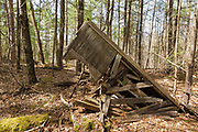 Collapsed building at the abandoned Redstone Granite quarry in Conway, New Hampshire.