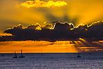 Sunset over ocean, Honolulu, Oahu, Hawaii