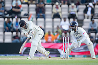 Kane Williamson, New Zealand pushes into the on side during India vs New Zealand, ICC World Test Championship Final Cricket at The Hampshire Bowl on 23rd June 2021