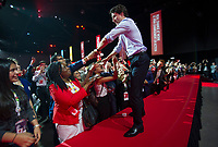 The 23rd Prime Minister of Canada, the Right Honorable Justin Trudeau greets the audience prior to his Keynote Address during the final day of the Liberal Biennial Convention at the RBC Convention Centre Saturday May 28, 2016 in Winnipeg.<br /> (David Lipnowski / Agence Québec Presse)