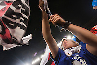 A Japanese fans waves a flag.  Japan played Paraguay in a 2010 FIFA World Cup second round match at Loftus Versfeld Stadium in Tshwane/Pretoria, South Africa on Tuesday, June 29, 2010.