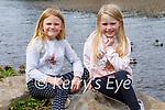 Elena and Naomi O'Neill from Milltown ready to go feeding the ducks at Ross Castle on Sunday.