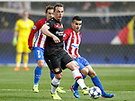 Atletico de Madrid's Angel Correa (r) and Bayer 04 Leverkusen's Julian Baumgartlinger during Champions League 2016/2017 Round of 16 2nd leg match. March 15,2017. (ALTERPHOTOS/Acero)