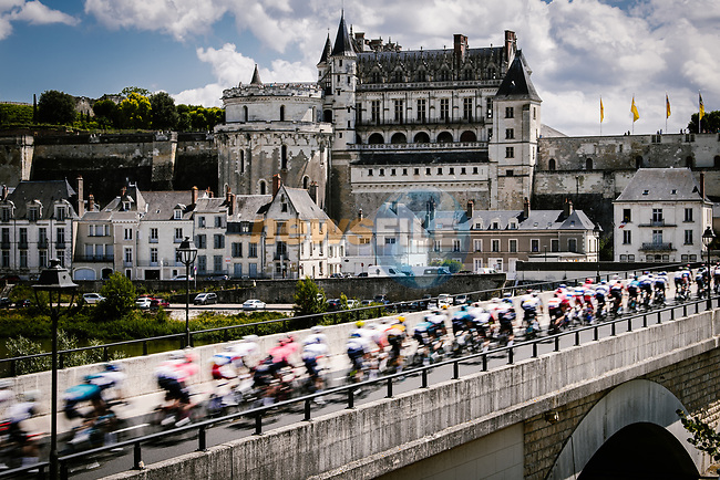 The pelotn passes through Amboise during Stage 6 of the 2021 Tour de France, running 160.6km from Tours to Chateauroux, France. 1st July 2021.  <br /> Picture: A.S.O./Pauline Ballet | Cyclefile<br /> <br /> All photos usage must carry mandatory copyright credit (© Cyclefile | A.S.O./Pauline Ballet)