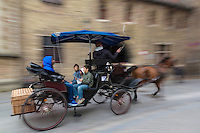 Belgique, Flandre-Occidentale, Bruges, centre historique classé Patrimoine Mondial de l'UNESCO, Promenade en fiacre sur le Dijver // Belgium, Western Flanders, Bruges, historical centre listed as World Heritage by UNESCO,   Cab ride on the Dijver