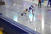SPEEDSKATING: HEERENVEEN: 30-01-2021, IJsstadion Thialf, ISU World Cup II, 500m Men Division B, Nico Ihle (GER), Victor Lobas (RUS), ©photo Martin de Jong