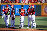 Adrian Gonzalez, Todd Frazier, Bryce Harper, Max Scherzer, and Anthony Rizzo during practice before the MLB All-Star Game on July 14, 2015 at Great American Ball Park in Cincinnati, Ohio.  (Mike Janes/Four Seam Images)