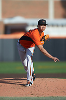 Frederick Keys starting pitcher Ofelky Peralta (26) follows through on his delivery against the Buies Creek Astros at Jim Perry Stadium on April 28, 2018 in Buies Creek, North Carolina. The Astros defeated the Keys 9-4.  (Brian Westerholt/Four Seam Images)