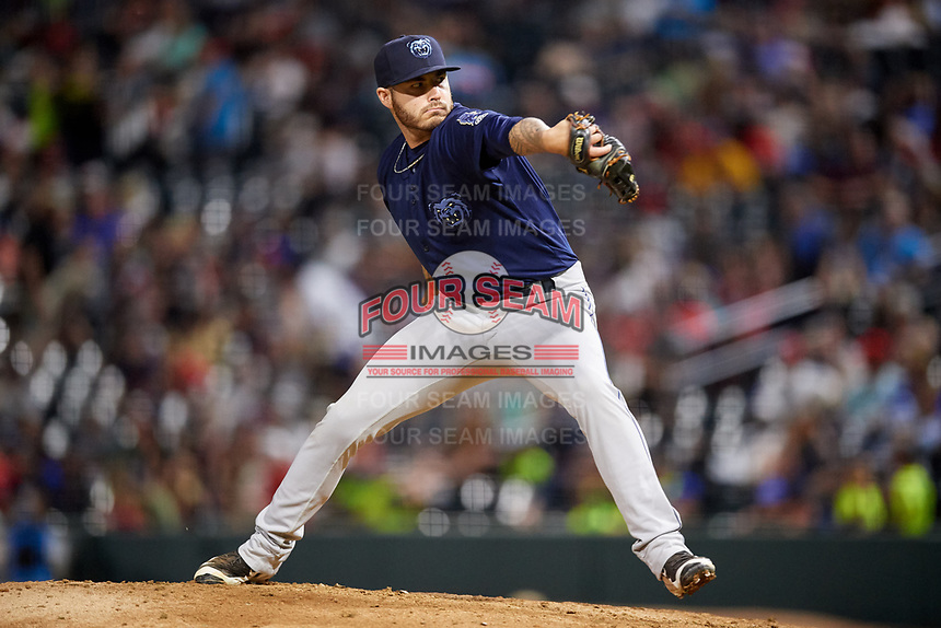 Mobile BayBears relief pitcher Sean Isaac (37) delivers a pitch during a game against the Jacksonville Jumbo Shrimp on April 14, 2018 at Baseball Grounds of Jacksonville in Jacksonville, Florida.  Mobile defeated Jacksonville 13-3.  (Mike Janes/Four Seam Images)