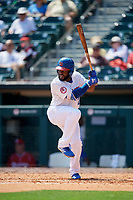 Buffalo Bisons left fielder Dwight Smith Jr. (21) at bat during a game against the Pawtucket Red Sox on June 28, 2018 at Coca-Cola Field in Buffalo, New York.  Buffalo defeated Pawtucket 8-1.  (Mike Janes/Four Seam Images)