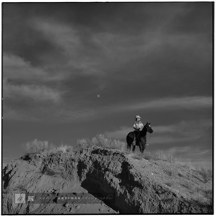 1997 -- Santa Fe, New Mexico. -- Quarter horse trainer out for a ride. Scenes from the great state of New Mexico. Along Route 66 and down towards White Sands National Monument..©Andrew Kaufman