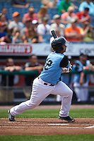 Syracuse Chiefs catcher Dan Butler (12) at bat during a game against the Pawtucket Red Sox on July 6, 2015 at NBT Bank Stadium in Syracuse, New York.  Syracuse defeated Pawtucket 3-2.  (Mike Janes/Four Seam Images)