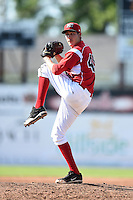 Batavia Muckdogs pitcher Yeims Mendoza (46) delivers a pitch during a game against the State College Spikes on June 22, 2014 at Dwyer Stadium in Batavia, New York.  State College defeated Batavia 10-3.  (Mike Janes/Four Seam Images)