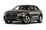 Stock pictures of low aggressive front three quarter view of 2019 Audi Q3 S-line 5 Door SUV Low Aggressive