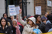 Migrant cleaners, caterers and porters belonging to the United Voices of the World trade union and employed by French multinational Sodexo at St.Mary's Hospital, strike over pay and conditions, and demand parity with their NHS co-workers, Paddington London.