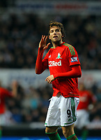 Saturday 17 November 2012<br /> Pictured: Michu of Swansea celebrating his opening goal.<br /> Re: Barclay's Premier League, Newcastle United v Swansea City FC at St James' Park, Newcastle Upon Tyne, UK.