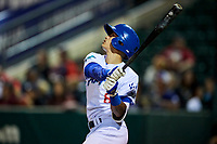 Brayan Morales (8) of the Ogden Raptors bats against the Great Falls Voyagers at Lindquist Field on September 14, 2017 in Ogden, Utah. The Raptors defeated the Voyagers 7-4 in Game One of the Pioneer League Championship. (Stephen Smith/Four Seam Images)