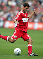 Chicago Fire midfielder Peter Lowry (29) takes a shot.  The Columbus Crew tied the Chicago Fire 2-2 at Toyota Park in Bridgeview, IL on September 20, 2009.