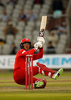 9th July 2021; Emirates Old Trafford, Manchester, Lancashire, England; T20 Vitality Blast Cricket, Lancashire Lightning versus Northamptonshire Steelbacks; An acrobatic boundary from Keaton Jennings as he and fellow opener Finn Allen put on 112 for the first Lancashire Lightning wicket