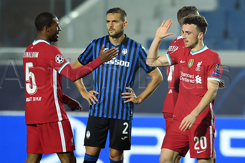3rd November 2020; Bergamo, Lombardy, Italy. UEFA Champions League football, group stages, Atalanta versus Liverpool FC;  Diogo Jota celebrates his goal for his hat trick for 0-5 in the 54th minute