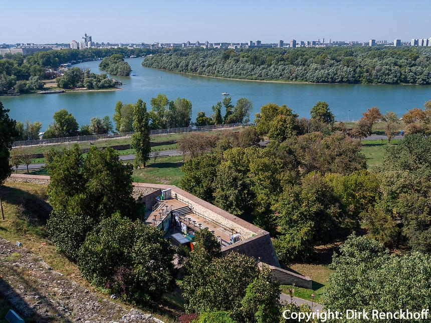 Zusammenfluss von Donau und Sava bei der Festung, Belgrad, Serbien, Europa<br /> River Danube and Sava near  the fortress,  Belgrade, Serbia, Europe