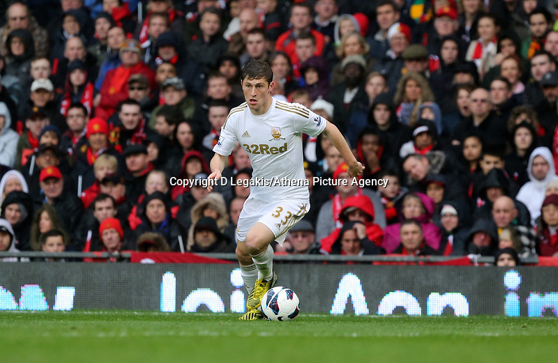 Pictured: Ben Davies.<br /> Sunday 12 May 2013<br /> Re: Barclay's Premier League, Manchester City FC v Swansea City FC at the Old Trafford Stadium, Manchester.