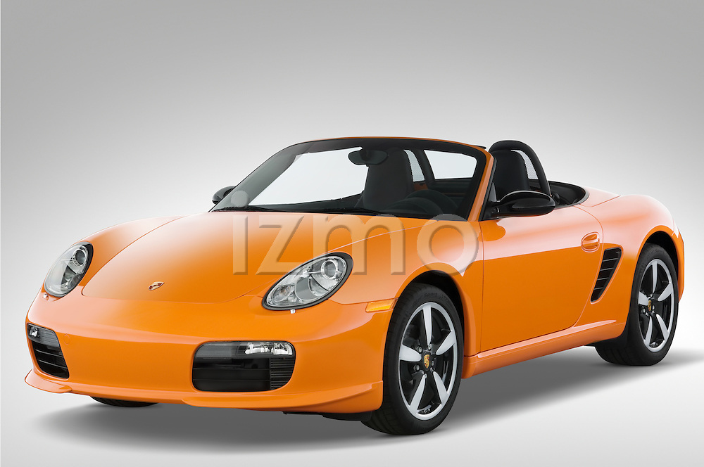 Front three quarter view of a 2008 Porsche Boxster LE, with the top down