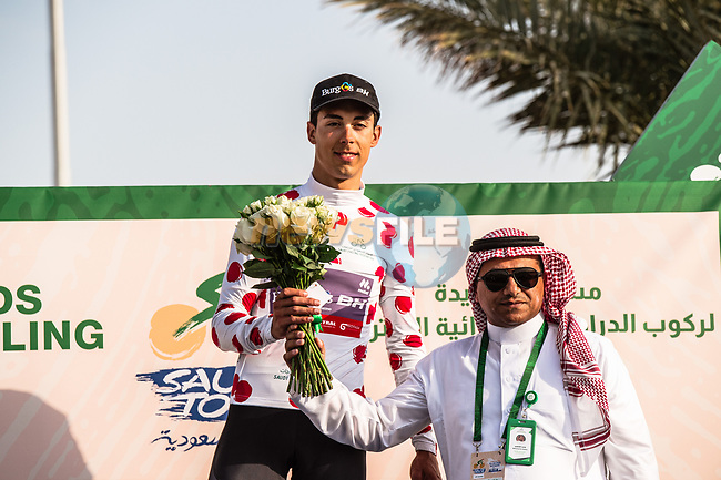Angel Fuentes Paniego (ESP) Burgos-BH retains the Polka Dot Jersey at the end of Stage 3 of the Saudi Tour 2020 running 119km from King Saud University to Al Bujairi, Saudi Arabia. 6th February 2020. <br /> Picture: ASO/Kåre Dehlie Thorstad   Cyclefile<br /> All photos usage must carry mandatory copyright credit (© Cyclefile   ASO/Kåre Dehlie Thorstad)