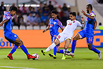 Sayed Redha Isa of Bahrain (2nd R) fights for the ball with Salam Ranjan Singh of India (L) and during the AFC Asian Cup UAE 2019 Group A match between India (IND) and Bahrain (BHR) at Sharjah Stadium on 14 January 2019 in Sharjah, United Arab Emirates. Photo by Marcio Rodrigo Machado / Power Sport Images