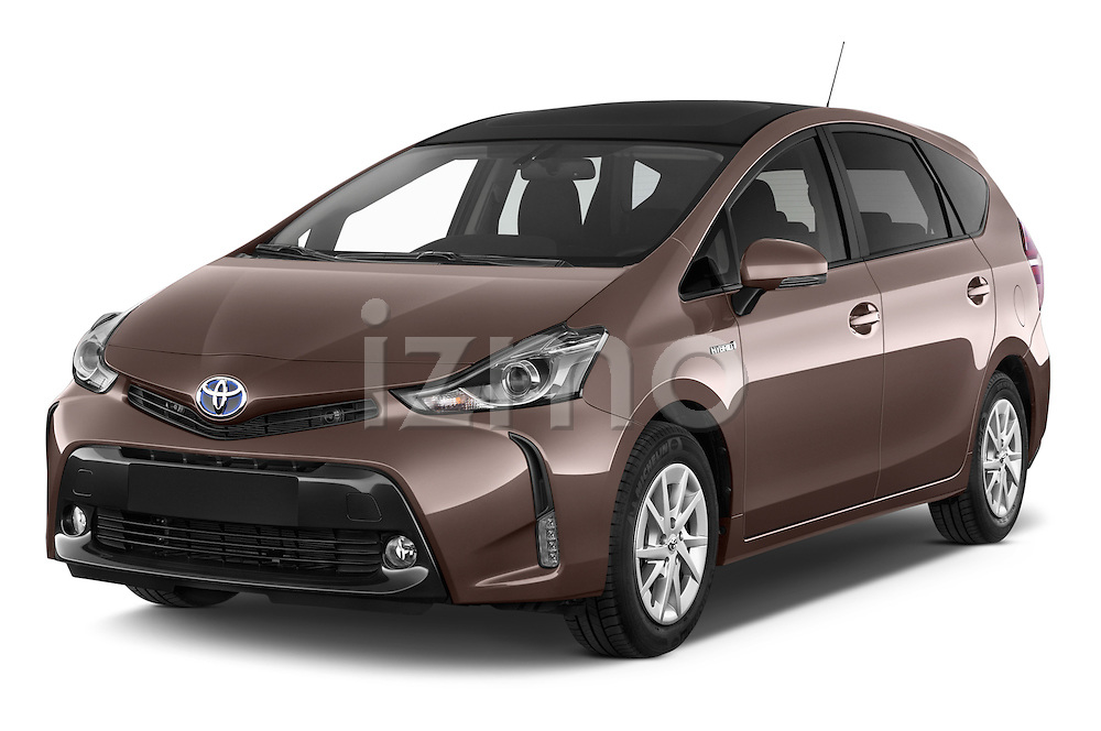 2015 Toyota Grand Prius+ 5 Door Mini Van angular front stock photos of front three quarter view