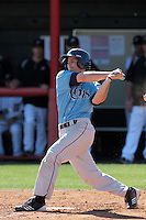 Jeff Cammons #3 of the Rhode Island Rams bats against the Cal State Northridge Matadors at Matador Field on March 14, 2012 in Northridge,California. Rhode Island defeated Cal State Northridge 10-8.(Larry Goren/Four Seam Images)