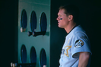 SAN FRANCISCO, CA - Craig Biggio of the Houston Astros watches from the dugout during a game against the San Francisco Giants at Candlestick Park in San Francisco, California in 1999. Photo by Brad Mangin