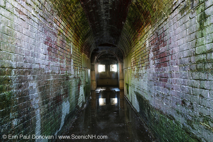 Inside the caponier at Fort McClary in Kittery, Maine USA during the winter months. This fort was named for Major Andrew McClary, an American officer killed in 1775 at the Battle of Bunker Hill. This fort was used throughout the 19th century.