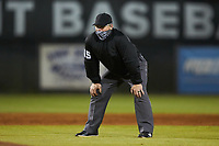 Third base umpire Kevin Morgan during the NCAA baseball game between the St. John's Red Storm and the Western Carolina Catamounts at Childress Field on March 13, 2021 in Cullowhee, North Carolina. (Brian Westerholt/Four Seam Images)
