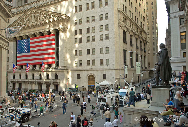 Wall Street and the New York Stock Exchange during the 2008 financial crisis.