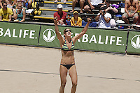 Huntington Beach, CA - 5/6/07:  Nicole Branagh yells out in jubilation after scoring during Branagh / Youngs' 21-13, 21-13 loss to May-Treanor / Walsh in the championship match of the AVP Cuervo Gold Crown Huntington Beach Open of the 2007 AVP Crocs Tour..Photo by Carlos Delgado
