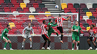 Brentford's Emiliano Marcondes heads the ball just over the Preston North End goal during Brentford vs Preston North End, Sky Bet EFL Championship Football at the Brentford Community Stadium on 4th October 2020