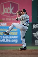 Zach Hartman (14) of the Inland Empire 66ers warms in the bullpen before pitching against the Lancaster JetHawks at The Hanger on September 3, 2016 in Lancaster, California. Lancaster defeated Inland Empire, 7-6. (Larry Goren/Four Seam Images)