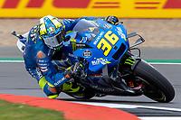 27th August 2021; Silverstone Circuit, Silverstone, Northamptonshire, England; MotoGP British Grand Prix, Practice Day; Team Suzuki Ecstar rider Joan Mir on his Suzuki GSX-RR