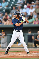 Center fielder Gene Cone (9) of the Columbia Fireflies bats in a game against  the West Virginia Power on Thursday, May 18, 2017, at Spirit Communications Park in Columbia, South Carolina. Columbia won in 10 innings, 3-2. (Tom Priddy/Four Seam Images)