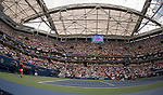 Simone Halep (ROU) splits the first two sets with Victoria Azarenka (BLR) 3-6, 6-4 under the new (partial) roof at the US Open in Flushing, NY on September 9, 2015.