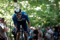 Mathias Norsgaard (DEN/Movistar) up the infamous Muur van Geraardbergen / Kapelmuur<br /> <br /> 17thBenelux Tour 2021 (2.UWT)<br /> (Final) Stage 7: from Namur to Geraardsbergen (178km)<br /> <br /> ©kramon