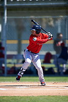 Boston Red Sox Cole Sturgeon (41) bats during a minor league Spring Training game against the Baltimore Orioles on March 16, 2017 at the Buck O'Neil Baseball Complex in Sarasota, Florida. (Mike Janes/Four Seam Images)